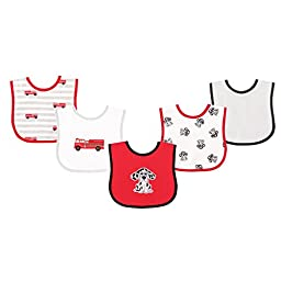 Luvable Friends 5 Piece Drooler Bib with Waterproof Backing, Dalmatian