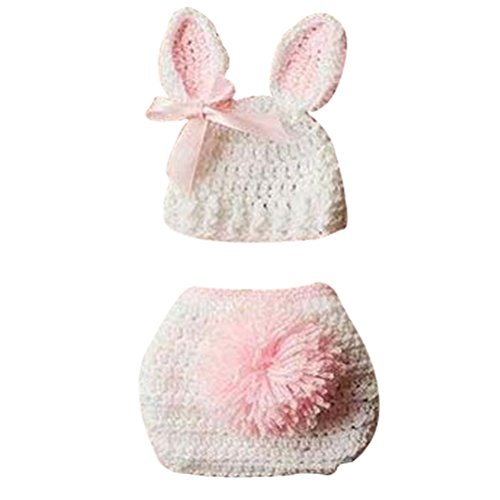 ZAMME New Born Baby Infant Crochet Knitted Rabbit Costume Photograph