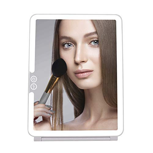 Cristallio 36 LED Makeup Mirror – LED Vanity Mirror – USB Rechargeable Makeup Mirror – Portable LED Mirror – Travel Lighted Touch Screen Mirror – Touch Screen Dimming LED Travel Mirror
