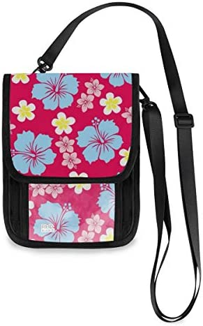 トラベルウォレット ミニ ネックポーチトラベルポーチ ポータブル 花柄 小さな財布 斜めのパッケージ 首ひも調節可能 ネックポーチ スキミング防止 男女兼用 トラベルポーチ カードケース