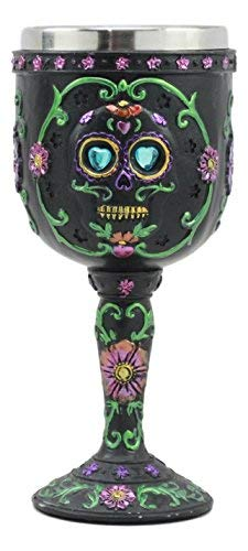 Ebros Day of The Dead Ossuary Wedding Black Sugar Skull Wine Goblet 7oz Chalice As Kitchen Decorative Halloween Party Centerpiece Accessory -