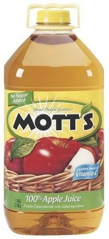 MOTTS APPLE JUICE 100% NO SUGAR ADDED GALLON