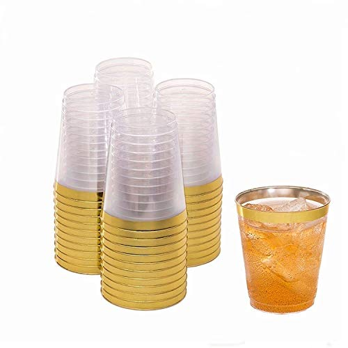 LydtCo. - 10oz Plastic Cups with Gold Rim | 100 pack| 10oz/300ml | For Weddings, Anniversaries, Birthdays, Special Events | Premium and Elegant | Wine, Juices, and other Beverages | BPA Free