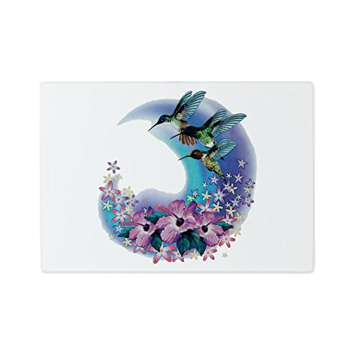 Glass Cutting Board Hummingbird And Hibiscus