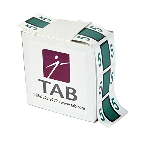 TAB CompuColor Numeric Label Roll, 5, Dark Green, 1