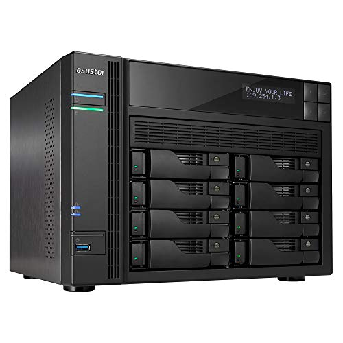 Asustor AS6208T | Network Attached Storage | 1.6GHz Quad-Core, 4GB RAM | Personal Private Cloud | Home or Business Data Media Server (8 Bay Diskless NAS)