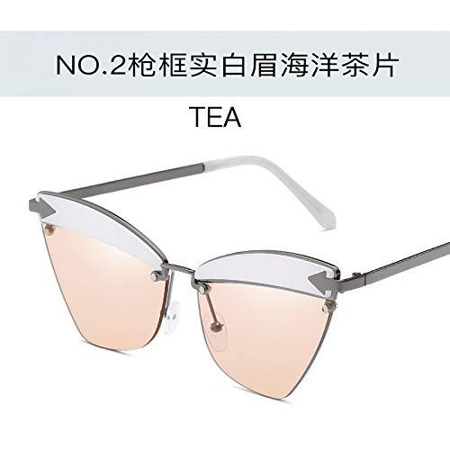 de sol de las sol brillantes señoras la metal hombres Burenqiq sol del de gato ojo negras los la tea brow Gafas gafas frame de white de Gun rojo del océano de cejas universales del y oro gafas moda de de del marco flecha del qxxTw8BZE
