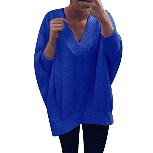 Xinantime Teen Girl V Neck Pullover Long Sleeve Comfy Sweatshirt Tops Winter Warm Fashion Women Blouse Tops -