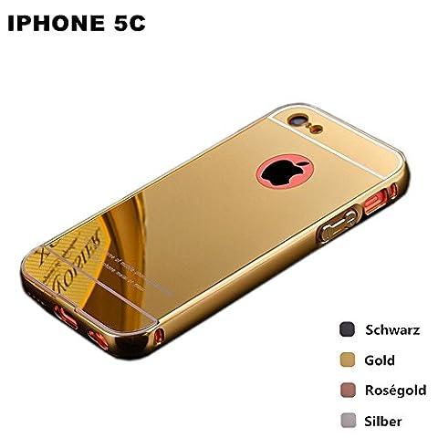 iPhone 5C Gold Mirrored Case, Gravydeals® Stylish 2 in 1 Design Ultra Slim Aluminum Metal Bumper with Mirror Hard Back Case for Apple iPhone (Aluminum Metal Iphone 5c Case)