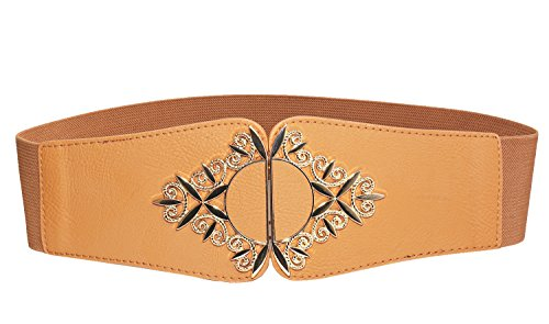 [Modeway Womens Retro Wide Leather Golden Buckle Elastic Stretch Cinch Waist Belt (S-M(26