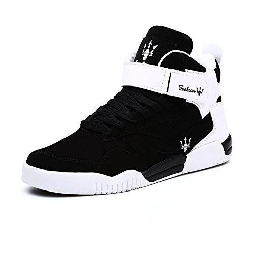 Leader Show (Tm) Men's Autumn & Winter Fashion Sneakers High Top Breathable Athletic Ankle Sports Shoes #1106 (6, Black)