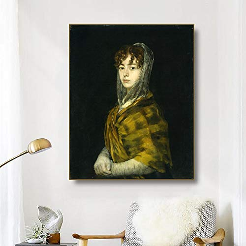 Imprimir en Lienzo Cuadro sobre -Senora Sabasa Garcia -Francisco Goya 40X50Cm Sin Marco, Replica Arte Lienzo Pintura Imprimir Fotografia Cartel