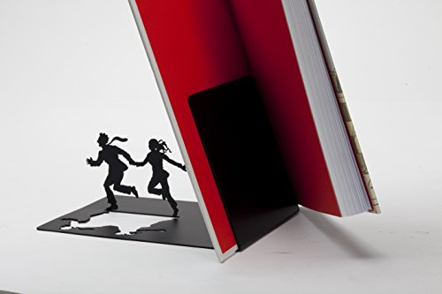 """""""Runaway Bookend"""" - Falling Books on a Running Couple - Black Metal Bookend - Gifts for Couples, Romantic Gift"""
