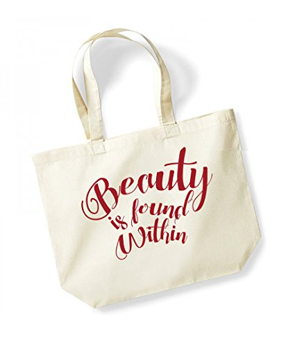 Beauty is Found Within - Large Canvas Fun Slogan Tote Bag Natural/Red