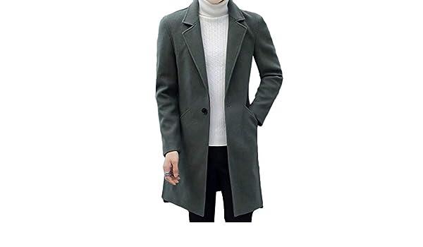 MU2M Men Long Sleeve Notch Lapel One-Button Wool Blend Pea Trench Coat