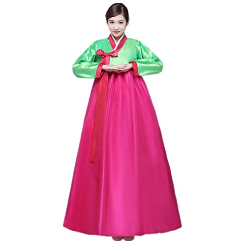 XINFU Korean Traditional Women's Hanbok Set Long Sleeve Colorful Dress Cosplay Costume (Costume Hanbok)