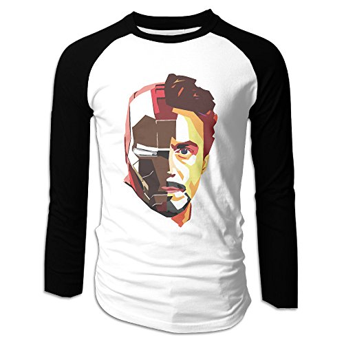 LOVEGIFTTO MEN Mens Tony Stark Iron Man Long Sleeve Comfort Raglan Tee Shirt X-Large ()