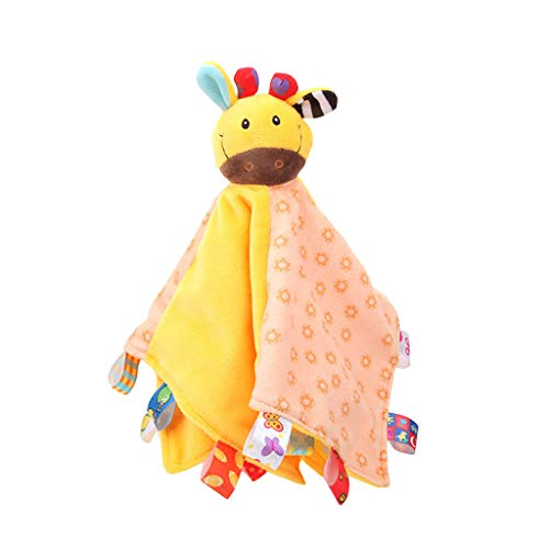 ERLOU Educational Doll Toy for Baby Children Cute Newborn Soft Baby Animal Puppet Toy Gift Snuggle Baby Comforter Blanket Boys Girls Gifts (Yellow)]()