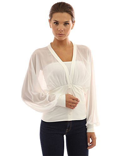 PattyBoutik Women's Chiffon Long Sleeve Fitted Waist Pullover Blouse (Ivory L) ()