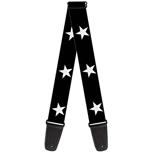 Buckle-Down 2 Inches Wide Guitar Strap - Star Black/White (GS-W21909) (White Strap Guitar Black)