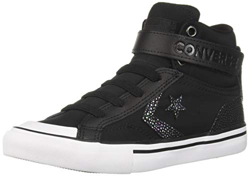 Converse Girls Kids' Pro Blaze Twill High Top Sneaker Black/White, 13 M US Little ()