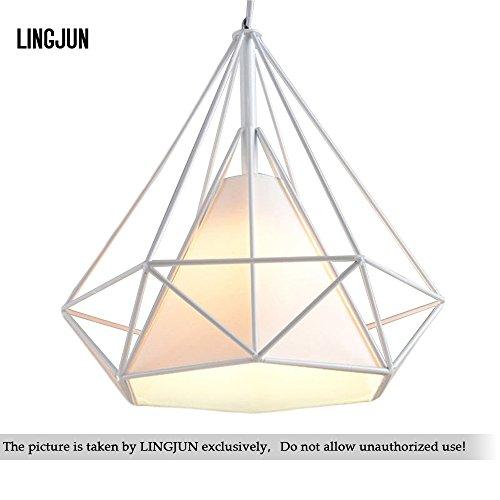 Modern Pendant Light Iron Vintage Diamond Cage Rustic Retro Loft Pyramid Lamp Cafe Dining Ceiling Lamp (25cm white+white shade) (Diamond Cage Light)