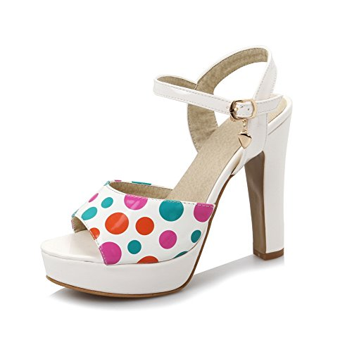 White Heeled Sandals Chunky Womens Dots Polka Heels MJS02897 Platform 1TO9 Urethane vU14qwU