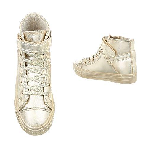 Sneaker Scarpe design High Da Ital Donna Sneakers Bl80 Oro Piatto 6HSqIng