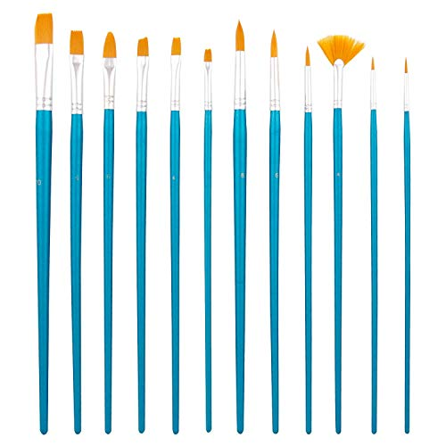 US Art Supply Halloween Face Paint 12-Piece Long Handle Premium Nylon Hair Brush Set with Carry Case ()