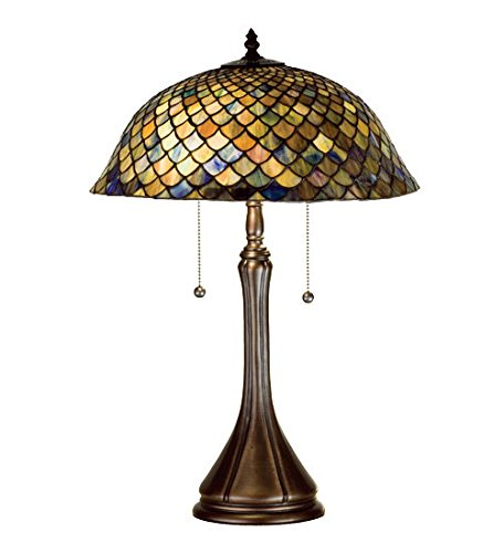 Stained Glass Tiffany Style Light Fishscale Table -