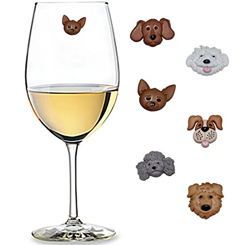 Fuzzy Dog Faces Wine Charms Set of 6 Magnetic Drink Markers & Tags for Stemless Glasses, Champagne Flutes and More