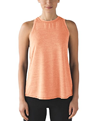 PODOM Womens Yoga Tops Athletic Tees Workout Tanks Crew Neck Shirts Activewear (M, Dark Orange)