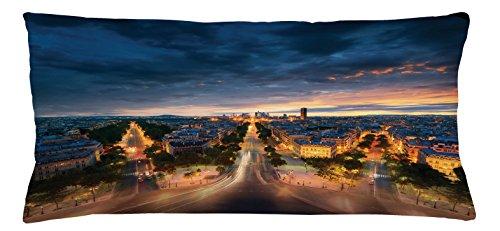 Paris Throw Pillow Cushion Cover by Lunarable, Paris Street View Avenue Boulevard Panoramic Dramatic Night Sky, Decorative Square Accent Pillow Case, 36 X 16 Inches, Navy Blue Marigold Dark - Cafe De Avenue Paris L