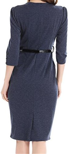 Cruiize Office V Sexy Sleeve 3 Dress 4 Neck Dark Pencil Bodycon Button Womens Blue p1rqAp