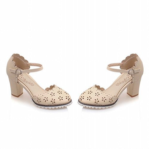 Charm Foot Donna Primavera Estate Tacco Grosso Mary Jane Pumps Scarpe Beige