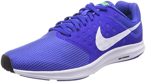 NIKE Men's Downshifter 7 Running Shoe Mega Blue/White/Green Strike/Racer Blue Size 8.5 M ()
