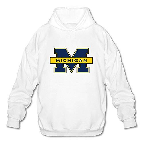 JeFF Men's NCAA Michigan Wolverines Logo Long Sleeve Sweatshirt Hoodies White Medium (US Size) (Cute Halloween Songs For Kids)