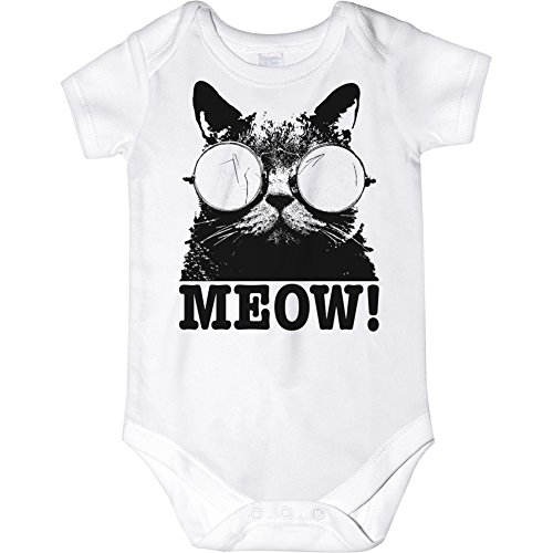 CarefreeTees Cats Meow Cat Lovers (Unisex Baby Bodysuit Size NB Black Design)