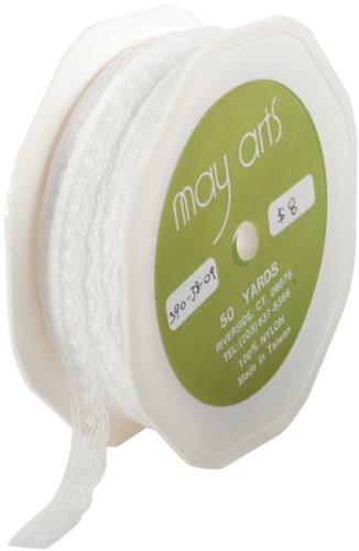 "May Arts Lace Ribbon .375""X50yd-Ivory"