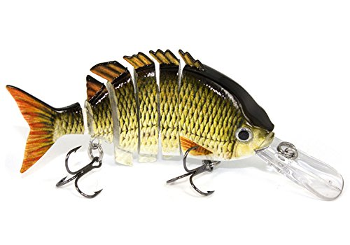 LKQBBSZ Fishing Lures 6 Segment Swimbait Multi Jointed Artificial Bait Crankbait Hard Bait Treble Hooks for Bass Perch Trout Lures swimbaits for Bass Fishing Bait /10cm 35g (Gray-changzui)