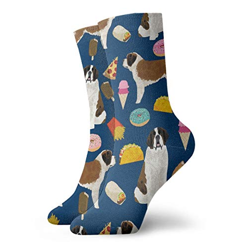 NEWINESS Women Men Boys Girls Fashion Novelty Funny Casual Comfy Breathable Compression Socks Adult Cotton Stockings Sports Running Football Navy Saint Bernard Crew Socks -