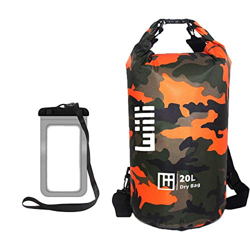 WIILII 20L Waterproof Dry Bag for Kayaking, Beach, Rafting, Boating, Hiking, Camping and Fishing with Waterproof Phone Case