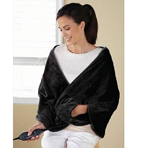 Price comparison product image Sunbeam TCRQR-900-44 Premium Luxury Royal Mink Chill-Away Heated Wrap, Black