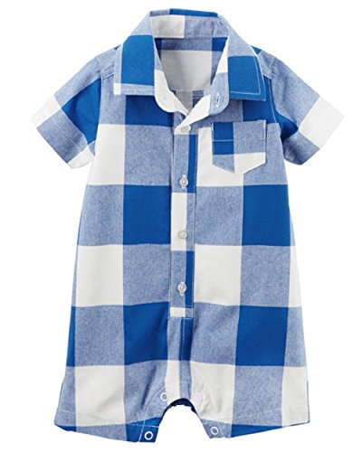 Carter's Boys Polo Style Blue Checker Romper (18 - Polo Outlet Kids