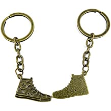Antique Bronze Keychain Key Chain Tags Keyring Ring Jewelry Making Charms Supplies KC0068 Cloth Shoes