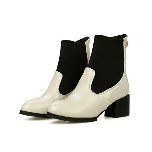 AgooLar Damen Gemischte Farbe PU Mittler Absatz Ziehen auf Spitz Zehe Stiefel Cremefarben