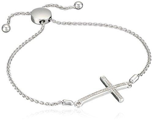 Sterling Silver Diamond Accent Cross Bolo Bracelet (1/10 cttw)(3) (Diamond Sterling Bracelets)