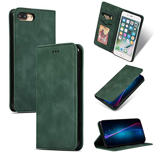 - Compatible with iPhone 8 Plus,iPhone 7 Plus Wallet Case Luxury, PU Leather Folio Flip Business Design with Kickstand Credit Card Slots and Magnetic Closure Cover for iPhone 7 Plus/ 8 Plus (Green)