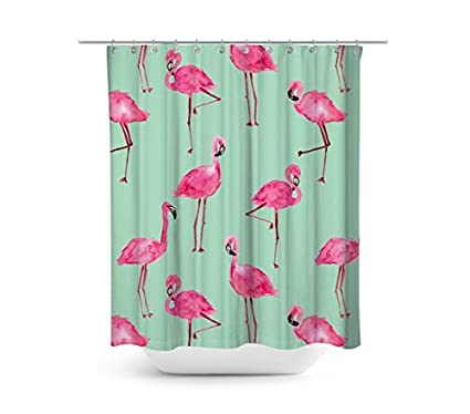 Livilan Bright Flamingo Shower Curtain Set Summer Theme 72quot X Fabric Bathroom