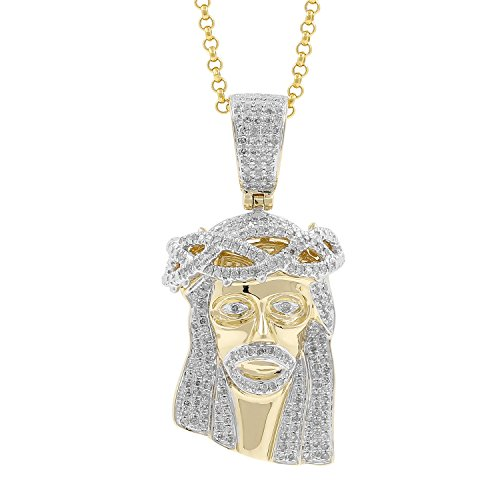0.75ct Diamond Jesus Face Religious Mens Hip Hop Pendant Necklace in 10kt Yellow Gold (H-I, I1-I2) by Isha Luxe-Hip Hop Bling